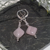 Rose Quartz Silver Plated Lever Back Earrings