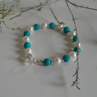 Turquoise (Reconstituted) &  Shell Pearl Silver Plate Bracelet