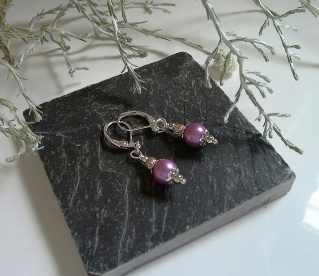 Dainty Pink Shell Pearl Lever Back Silver Plate Earrings
