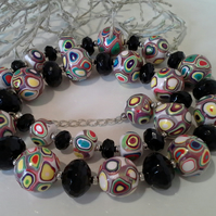 Faceted Black Onyx & Hand Made Polymer Clay Beads Silver Plate Necklace