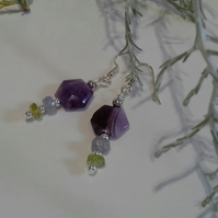 Amethyst, Tanzanite & Peridot Silver Plate Earrings