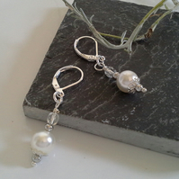 Dainty Ivory White Shell Pearl & Crystal Lever Back Earrings