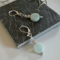 Russian Amazonite & Crystal Lever Back Silver Plate Earrings