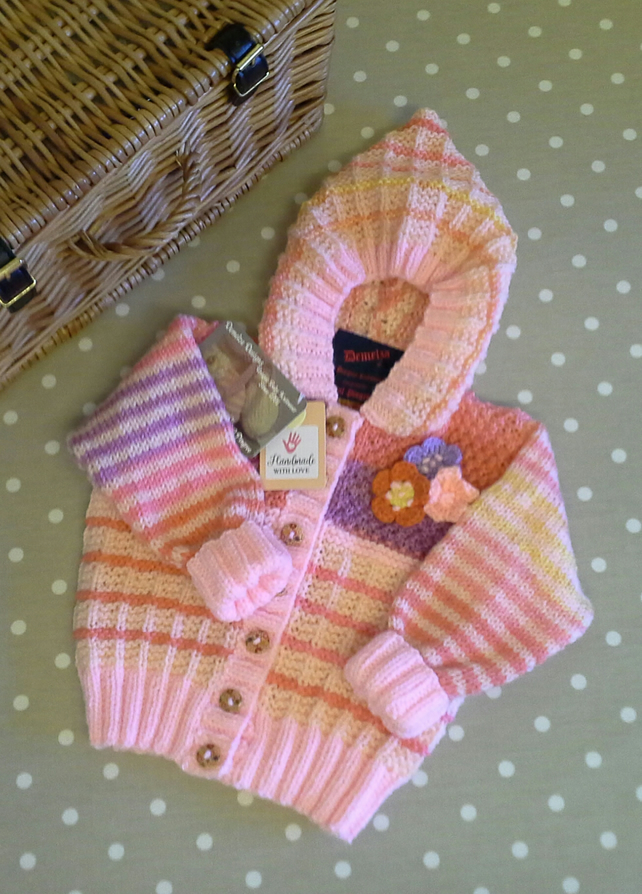 Baby Girl's Hooded Knitted Cardigan-Jacket  9-18 months size