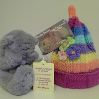 Baby Girl's Rainbow Ribbed Hat 3-9 months size