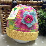 SALE ITEM Baby Girl's Knitted Hat 3-9 months size