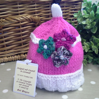 Baby Girl's Flowers Beanie Hat 0-6 months size