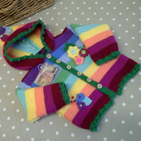 Baby Girl's Rainbow Hooded Flower Jacket  18 - 24 months