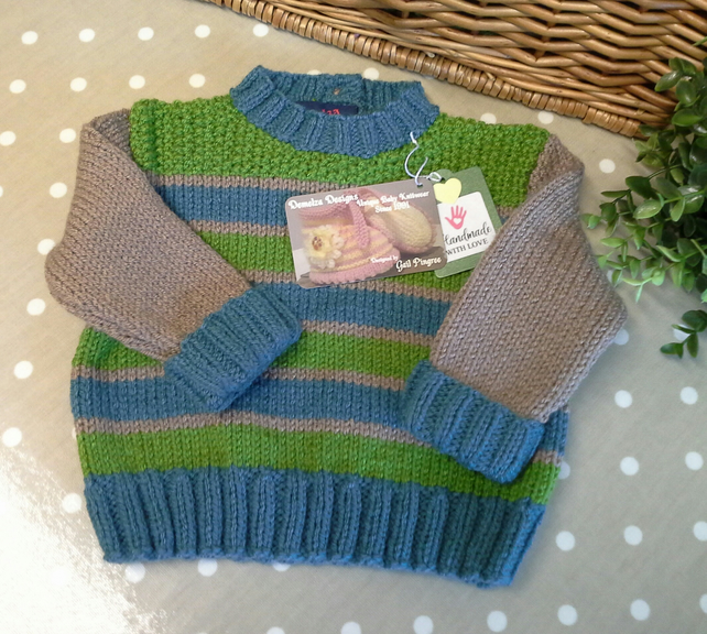 Baby Boy's Stripey Knitted Jumper 1-2 years