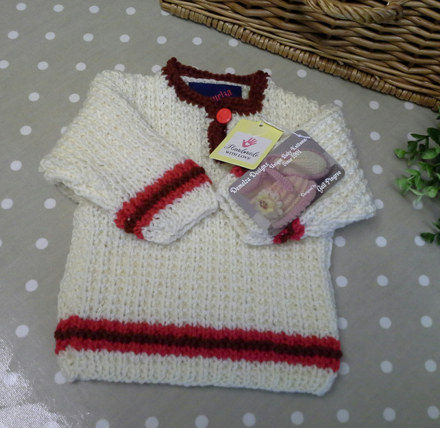 Baby Aran Jumper with wool  0-6 months size