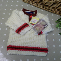 SALE ITEM Baby Aran Jumper with wool  0-6 months size