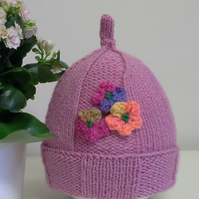Baby Girl's Flower Wide Ribbed Hat  9-18 months size