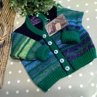 Baby Boys Multicoloured V Neck Cardigan  9-18 months size