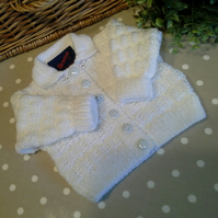 White Baby Cardigan  0-6 months size