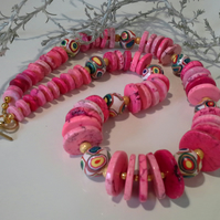 Howelite &  Hand Made Polymer Clay bead  necklace