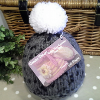 SALE ITEM Chunky Newborn Unisex Baby Hat  0-3 months size