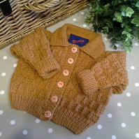 Mustard Coloured Unisex Baby Cardigan  3-9 months size