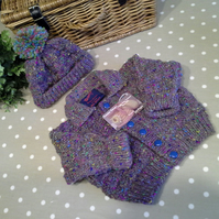 Chunky Jacket & Bobble Hat  with 30% Marino Wool at  9-18 months size