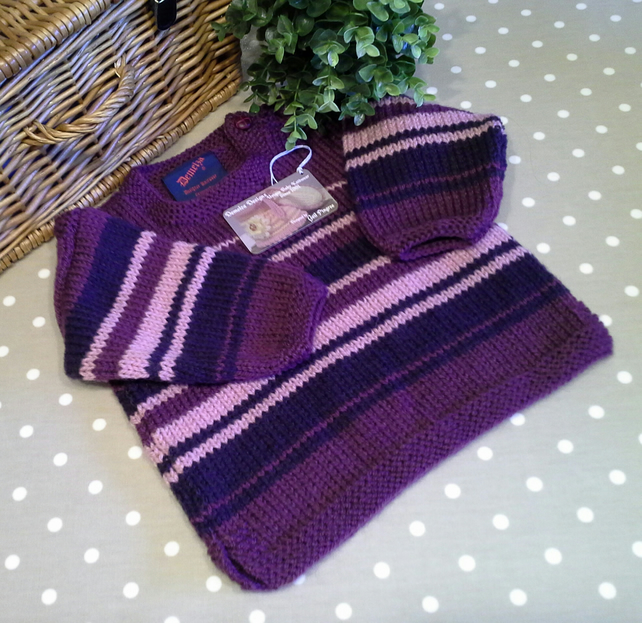 Baby Girl's Aran Jumper with 25% Marino Wool 12- 18 months size