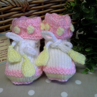 Baby Girl's Bobble Booties  0-6 months size