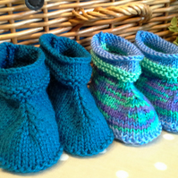 Baby Boy's 2 Pair Pack Booties  3-9 months size