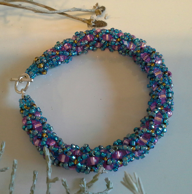SALE Fancy Sparkly Seed Bead Bracelet Silver Plated