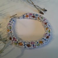 Fancy Sparkly Seed Bead Bracelet Silver Plated