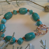 Turquoise (Rec;) and Howlite Rose Gold Plated Bracelet