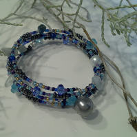 Fancy Wrap Seed Bead and Gemstone chip Bracelet