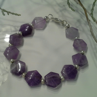 Genuine Amethyst Bracelet Silver Plated  SMALL