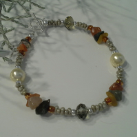 Fancy Jasper, Shell Pearl, Crystal and Seed Bead Bracelet Silver Plate