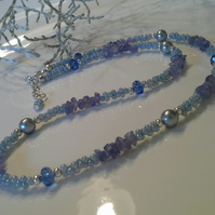 Tanzanite, Seed  Bead, Crystal and Shell Pearl Necklace Silver Plated