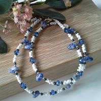 Sodalite, Heamotite, Crystal & Seed Bead Silver Plated Necklace