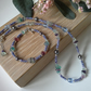 Fluorite,  Shell Pearls,  Crystal & Seed Bead Silver Plate Necklace and Bracele