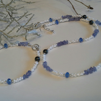 Tanzanite, Seed  Bead, Crystal and Shell Pearl Necklace set Silver Plated