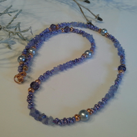 AA Grade Tanzanite Nugget, Shell Pearl, Crystal, Necklace Rose Gold Plated