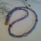 Tanzanite, Shell Pearl, Crystal & Seed Bead Necklace Rose Gold Plated