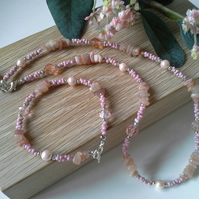 Peach Moonstone,  Shell Pearls, Crystal,  Seed Bead Necklace Set Silver Plated