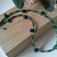 Rare Green-Blue Lapis Lazli,  Quartzite,  Crystal,  Seed Bead Necklace S Plated