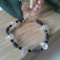Faceted Crystal and Seed Bead Bracelet Silver Plated