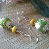 Polymer Clay & Magnetite Earrings Silver Plated