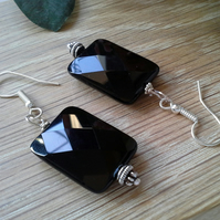 Large Faceted Rectangular Black Onyx Silver Plated Earrings