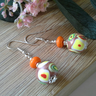 Polymer Clay & Magnasite  Earrings Silver Plated