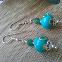 Agate & Polymer Clay Silver Plated Earrings