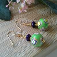 Magnasite & Polymer Clay Gold Plated Earrings