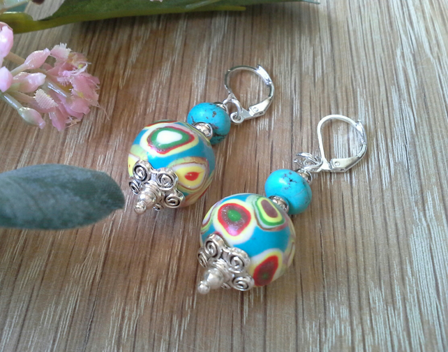 Hand Made Polymer Clay Beads & Magnesite Earings