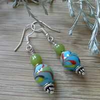 Multi Coloured Hand Blown Glass silver plated Earings