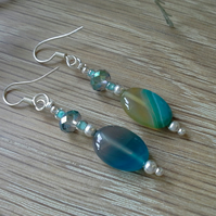 Agate & Seed Bead Silver Plated Earrings