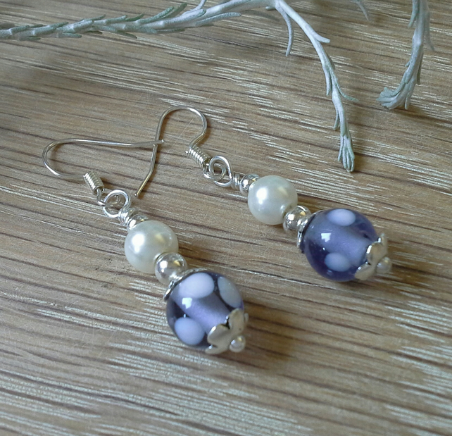 SALE Lamp work Glass Bead & Shell Pearl Silver Plated Earrings