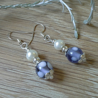 Lamp work Glass Bead & Shell Pearl Silver Plated Earrings